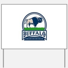 American Bison Buffallo Banner Circle Woodcut Yard