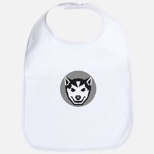 Baby Wolf Cub Head Circle Retro Bib