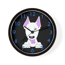 White Bull Terrier Wall Clock
