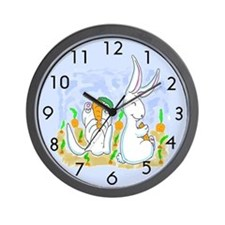 White Rabbits and Carrots Wall Clock