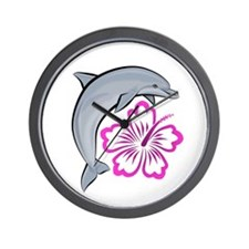 Dolphin Hibiscus Pink Wall Clock