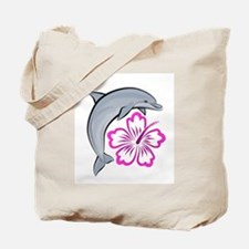 Dolphin Hibiscus Pink Tote Bag