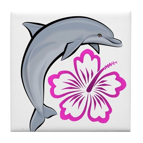 Dolphin Hibiscus Pink Tile Coaster