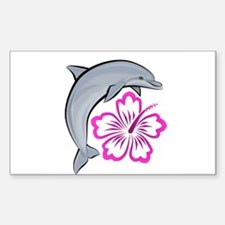 Dolphin Hibiscus Pink Rectangle Decal