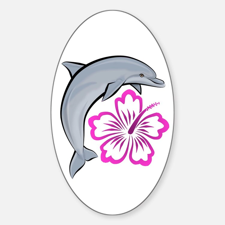 Dolphin Hibiscus Pink Oval Decal