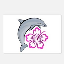 Dolphin Hibiscus Pink Postcards (Package of 8)