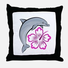 Dolphin Hibiscus Pink Throw Pillow