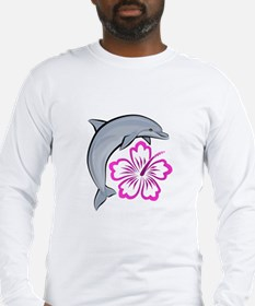 Dolphin Hibiscus Pink Long Sleeve T-Shirt
