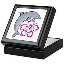 Dolphin Hibiscus Pink Keepsake Box