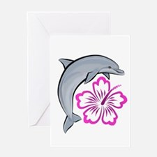 Dolphin Hibiscus Pink Greeting Card