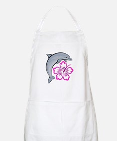 Dolphin Hibiscus Pink BBQ Apron