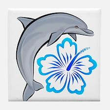 Dolphin Hibiscus Blue Tile Coaster