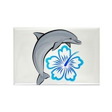 Dolphin Hibiscus Blue Rectangle Magnet