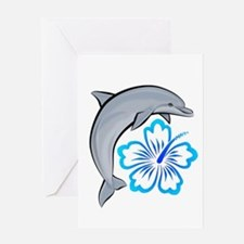 Dolphin Hibiscus Blue Greeting Card