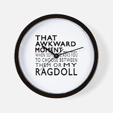 Awkward Ragdoll Cat Designs Wall Clock