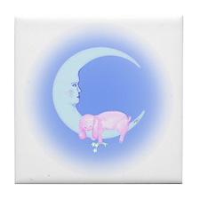 Pink Bunny Sleeping on the Moon Tile Coaster