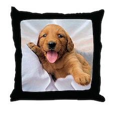 Happy Golden Retriever Puppy Throw Pillow