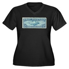 Stamp collecting Women's Plus Size V-Neck Dark T-Shirt