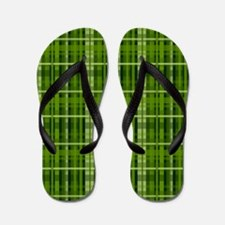 Modern Irish Green Plaid Pattern Flip Flops