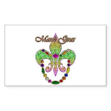 Beaded Mardi Gras Rectangle Sticker