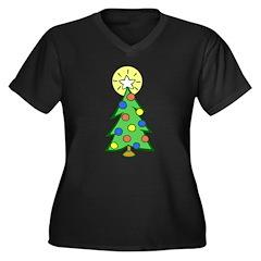 Christmas Tree Women's Plus Size V-Neck Dark T-Shi