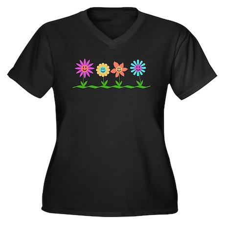 Smiley garden Women's Plus Size V-Neck Dark T-Shir