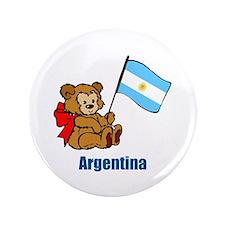 "Argentina Teddy Bear 3.5"" Button (100 pack)"