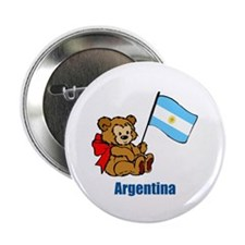 "Argentina Teddy Bear 2.25"" Button (10 pack)"