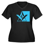Blue Lodge in Blue Women's Plus Size V-Neck Dark T
