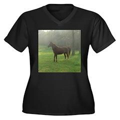chestnut Women's Plus Size V-Neck Dark T-Shirt