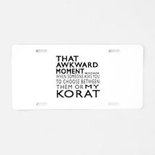 Awkward Korat Cat Designs Aluminum License Plate