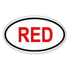 RED Oval Decal