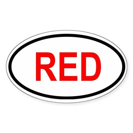RED Oval Sticker