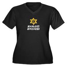 Shalom Bitches! Women's Plus Size V-Neck Dark T-Sh