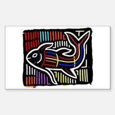 Mola Whale, Kuna art from San Sticker (Rectangular
