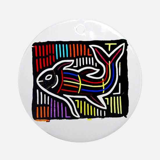 Mola Whale, Kuna art from San Ornament (Round)