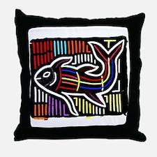 Mola Whale, Kuna art from San Throw Pillow