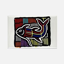 Mola Whale, Kuna art from San Rectangle Magnet