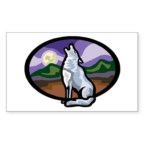 Howling Wolf Rectangle Sticker