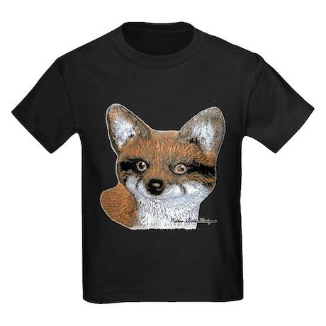 Fox Portrait Design Kids Dark T-Shirt