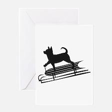 Chihuahua Sledding Greeting Card