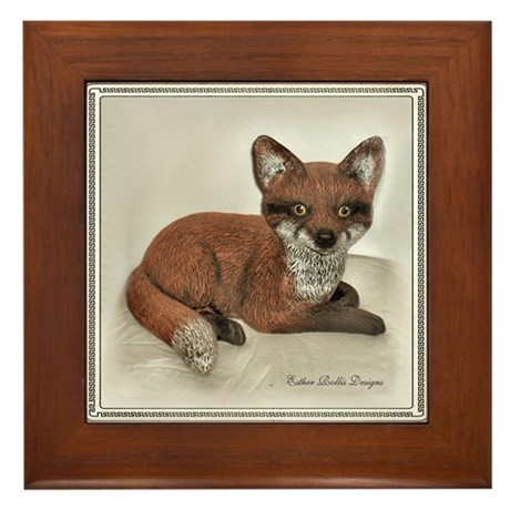 Fox Portrait Design Framed Tile