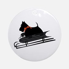 Scottish Terrier Sledding Ornament (Round)