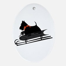 Scottish Terrier Sledding Oval Ornament
