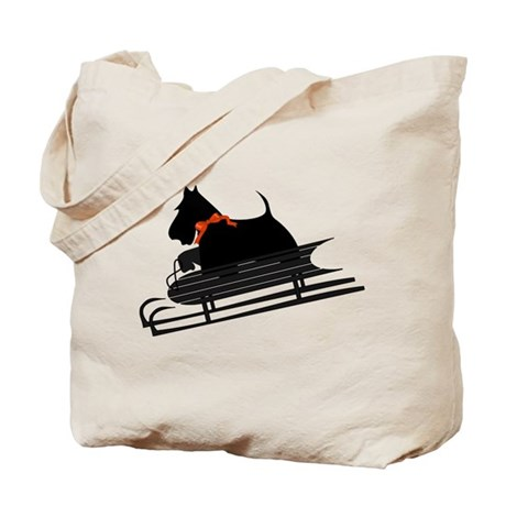 Scottish Terrier Sledding Tote Bag