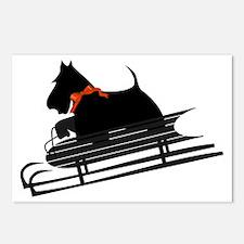 Scottish Terrier Sledding Postcards (Package of 8)
