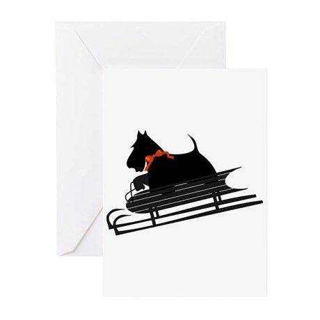 Scottish Terrier Sledding Greeting Cards (Pk of 20