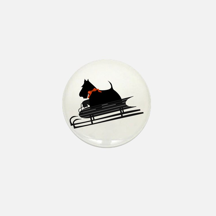Scottish Terrier Sledding Mini Button