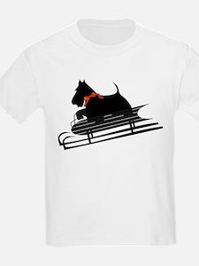 Scottish Terrier Sledding T-Shirt