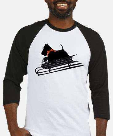 Scottish Terrier Sledding Baseball Jersey